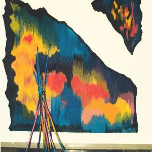 1985-LAKE & LIEU SACRE & LAC-WOOL TAPESTRY & WOOD SCULPTURE-1991-72 X 78 X 40-web