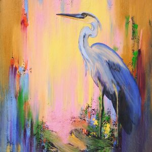 HERON BLEU -oil on canvas 24X18