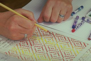 Making a weaving pattern on drafting paper