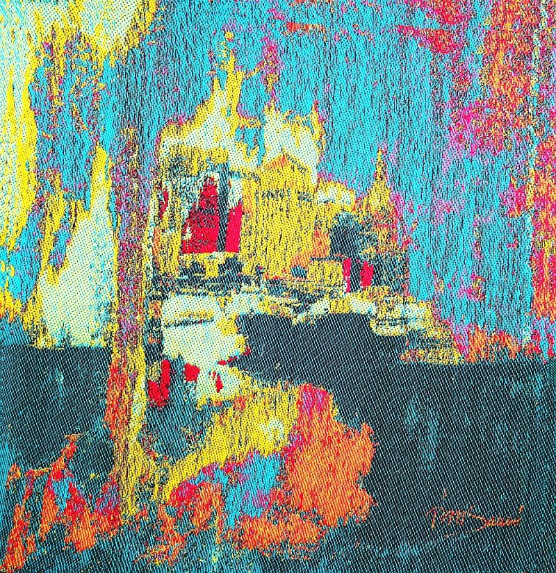 SHIP IN PORT-a woven tapestry-framed-30H X 30W