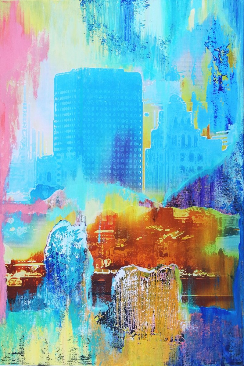 IRIDESCENT BLUE CITY-file#32207
