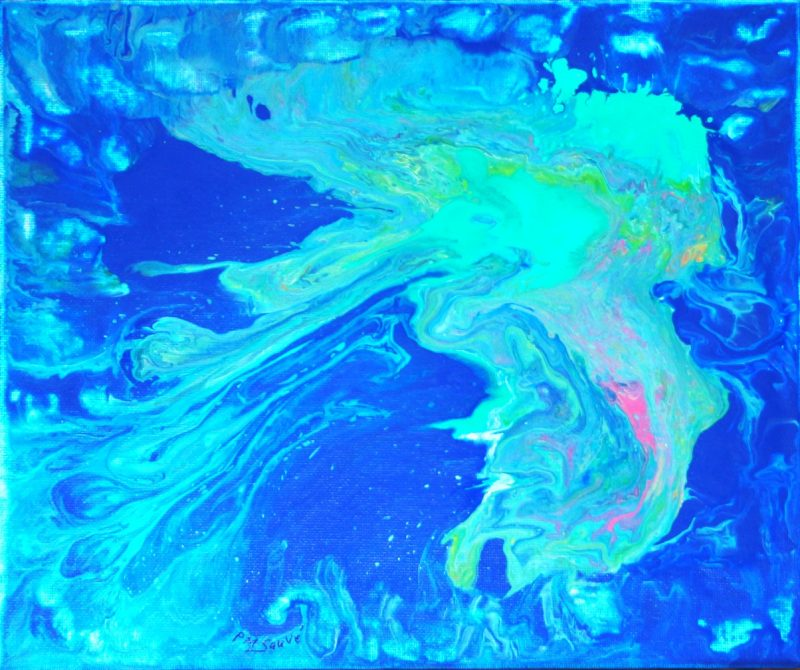 IRIDESCENT WATERFALL 10H X 12W canvas panel